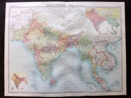 Bartholomew 1922 Large Map. India & Farther India. Political. Siam Malaya Burma